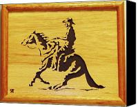 Woodcarving Sculpture Canvas Prints - Horse with Rider Canvas Print by Russell Ellingsworth