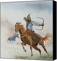 Horsemen Canvas Prints - Horsemen from the Steppes Canvas Print by English School