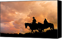 Horsemen Canvas Prints - Horsemen Canvas Print by Mal Bray