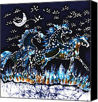 Fantasy Tapestries - Textiles Canvas Prints - Horses Frolic on a Starlit Night Canvas Print by Carol Law Conklin