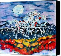 Clouds Tapestries - Textiles Canvas Prints - Horses Prance On Flower Field in Summer Moon Canvas Print by Carol Law Conklin