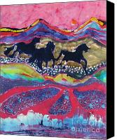 Fantasy Tapestries - Textiles Canvas Prints - Horses Running Thru a Stream Canvas Print by Carol  Law Conklin