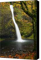Waterfall Canvas Prints - Horsetail Falls Autumn Canvas Print by Mike  Dawson