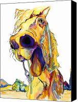 Horse Canvas Prints - Horsing Around Canvas Print by Pat Saunders-White