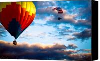 Auburn Canvas Prints - Hot Air Balloon and Powered Parachute Canvas Print by Bob Orsillo