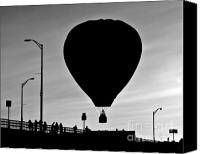 Black And White Photo Canvas Prints - Hot Air Balloon Bridge Crossing Canvas Print by Bob Orsillo