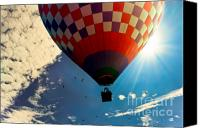 Illustration Canvas Prints - Hot Air Balloon Eclipsing the Sun Canvas Print by Bob Orsillo
