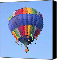 Stain Glass Digital Art Canvas Prints - Hot Air Balloon in Stained Glass Canvas Print by East Coast Barrier Islands Betsy A Cutler