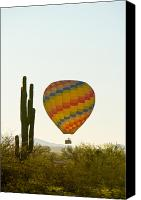 Hot Air Balloons Canvas Prints - Hot Air Balloon In the Arizona Desert With Giant Saguaro Cactus Canvas Print by James Bo Insogna