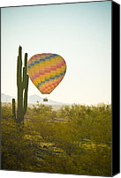 Hot Air Balloons Canvas Prints - Hot Air Balloon over the Arizona Desert With Giant Saguaro Cactu Canvas Print by James Bo Insogna