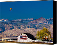 Barns Canvas Prints - Hot Air Balloon With USA Flag Barn God Bless the USA Canvas Print by James Bo Insogna