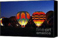 Balloon Festival Canvas Prints - Hot Air Balloons at Dusk Canvas Print by Benanne Stiens