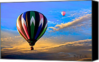 Balloon Festival Canvas Prints - Hot Air Balloons at Sunset Canvas Print by Bob Orsillo