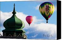 Hot Air Canvas Prints - Hot Air Balloons float past Mosque Lewiston Maine Canvas Print by Bob Orsillo