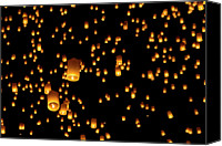 Thailand Canvas Prints - Hot Air Lanterns In Sky Canvas Print by Daniel Osterkamp