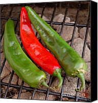 Salsa Canvas Prints - Hot and Spicy - Chiles On The Grill Canvas Print by Steven Milner