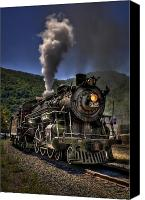 Locomotive Canvas Prints - Hot and Steamy Canvas Print by Evelina Kremsdorf