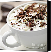 Dark Canvas Prints - Hot chocolate Canvas Print by Elena Elisseeva