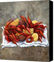 Louisiana Seafood Canvas Prints - Hot Crawfish Canvas Print by Elaine Hodges