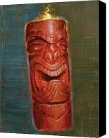 Polynesian Pop Canvas Prints - Hot Headed Tiki Canvas Print by Shawn Shea