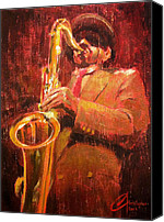Sax Art Painting Canvas Prints - Hot Jazz I Canvas Print by Christopher Clark