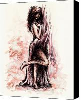 Fantasy Fairy Drawings Canvas Prints - Hot Canvas Print by Rachel Christine Nowicki