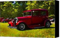 Ford Sedan Canvas Prints - Hot Red Sedan Canvas Print by Patricia Stalter