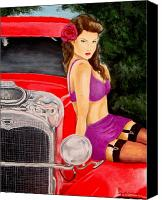 Pin-up Painting Canvas Prints - Hot Ride Canvas Print by Al  Molina