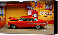 Pig Photo Canvas Prints - Hot Rod BBQ Canvas Print by Perry Webster