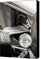 Monochrome Hot Rod Canvas Prints - Hot Rod Front End Monochrome Canvas Print by M K  Miller
