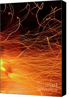 Burnt Canvas Prints - Hot Sparks Canvas Print by Carlos Caetano
