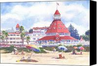 Tourists Painting Canvas Prints - Hotel Del Coronado Beach Canvas Print by Mary Helmreich