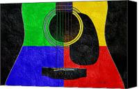 Song Mixed Media Canvas Prints - Hour Glass Guitar 4 Colors 1 Canvas Print by Andee Photography