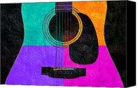 Song Mixed Media Canvas Prints - Hour Glass Guitar 4 Colors 2 Canvas Print by Andee Photography