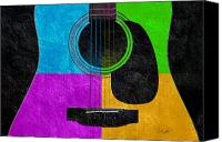 Song Mixed Media Canvas Prints - Hour Glass Guitar 4 Colors 3 Canvas Print by Andee Photography