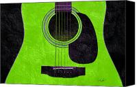 Song Mixed Media Canvas Prints - Hour Glass Guitar Green 3 T Canvas Print by Andee Photography