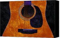 Song Mixed Media Canvas Prints - Hour Glass Guitar Orange 1 T Canvas Print by Andee Photography