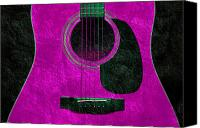Song Mixed Media Canvas Prints - Hour Glass Guitar Pink 1 T Canvas Print by Andee Photography