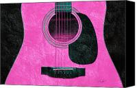 Close Up Mixed Media Canvas Prints - Hour Glass Guitar Pink 2 T Canvas Print by Andee Photography