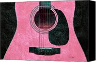 Song Mixed Media Canvas Prints - Hour Glass Guitar Pink 3 T Canvas Print by Andee Photography