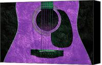 Song Mixed Media Canvas Prints - Hour Glass Guitar Purple 1 T Canvas Print by Andee Photography