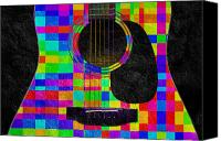 Close Up Mixed Media Canvas Prints - Hour Glass Guitar Random Rainbow Squares Canvas Print by Andee Photography