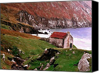 Mountains Pastels Canvas Prints - House at the Coast Canvas Print by Stefan Kuhn
