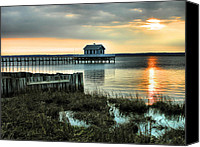 Chincoteague Canvas Prints - House At The End Of The Pier II Canvas Print by Steven Ainsworth