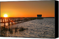 Chincoteague Canvas Prints - House At The End Of The Pier III Canvas Print by Steven Ainsworth