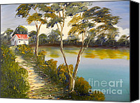 Oil Special Promotions - House by the Lake Canvas Print by Pamela  Meredith