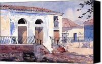 Watercolor On Paper Canvas Prints - House in Santiago Canvas Print by Winslow Homer