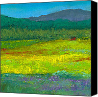 Pastel Landscape Canvas Prints - House in the Meadow Canvas Print by David Patterson
