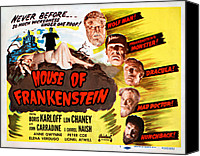 Horror Fantasy Movies Photo Canvas Prints - House Of Frankenstein, 1950 Re-issue Canvas Print by Everett