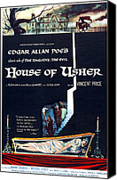 1960s Poster Art Canvas Prints - House Of Usher, Aka The Fall Of The Canvas Print by Everett